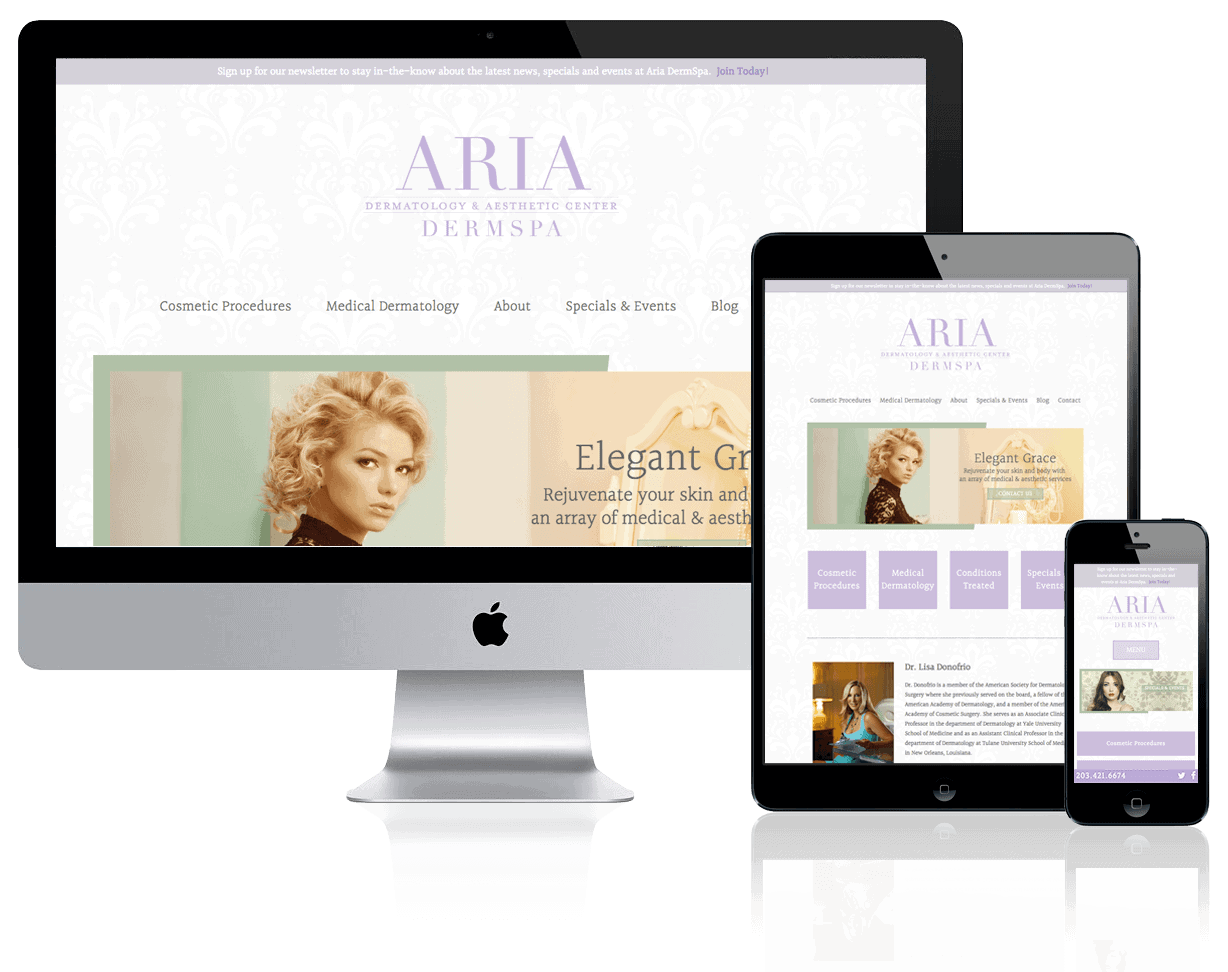 Aria DermSpa, designed by Gregg Chase, Creative Director, and built by Katie Peterson, Web Developer/Designer, at Reach Beyond Marketing