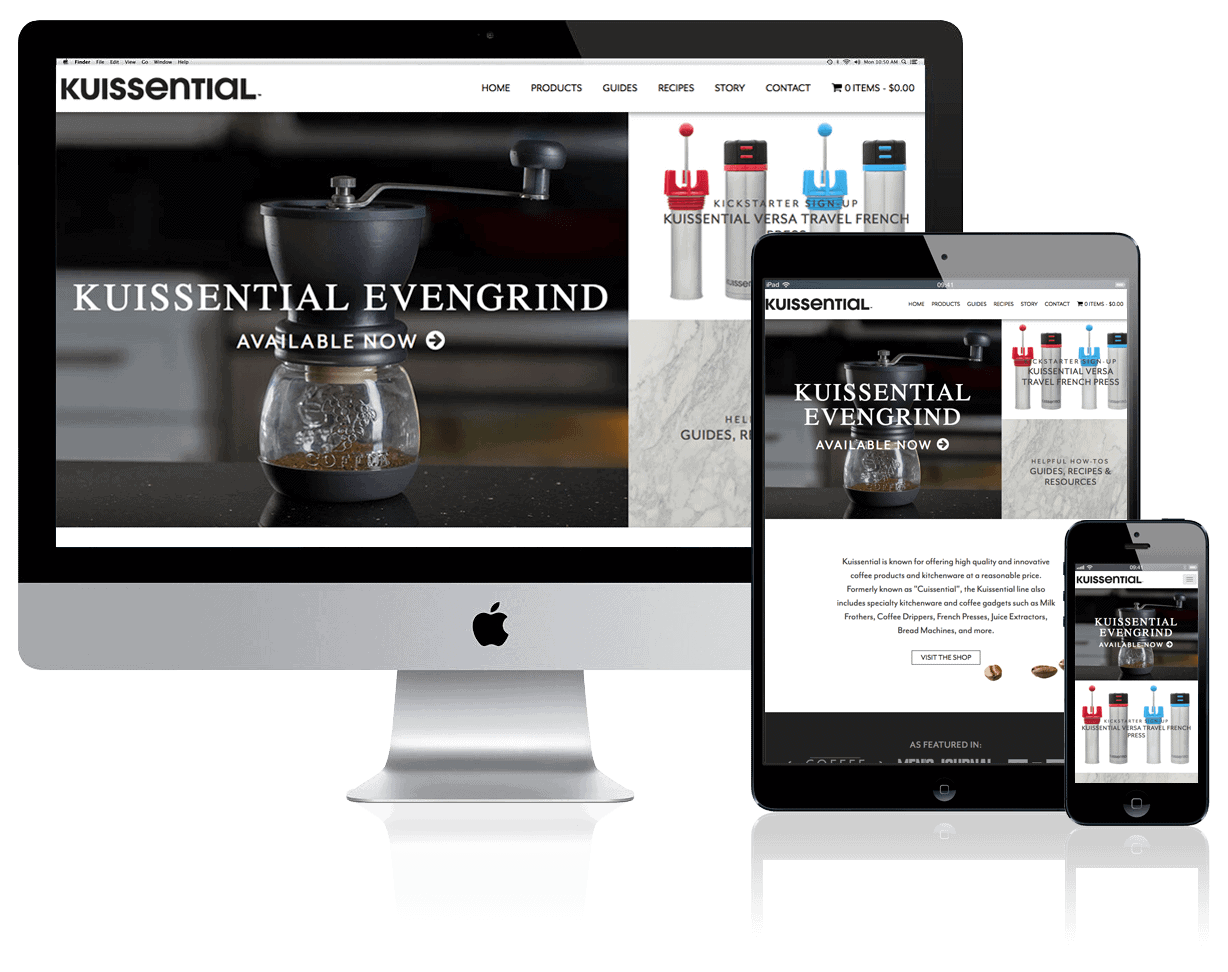 Kuissential Kitchen + Coffee, website design and build by Katie Peterson Rivera, Front End Web Developer and Designer at SCS Direct Inc. in New Haven, Connecticut