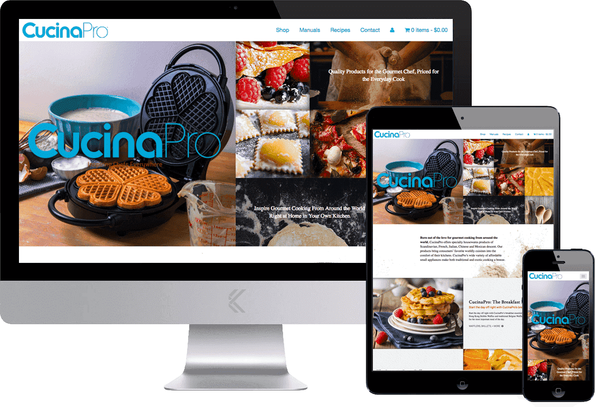 CucinaPro, website design and build by Katie Peterson Rivera, Front End Web Developer and Designer at SCS Direct Inc. in New Haven, Connecticut