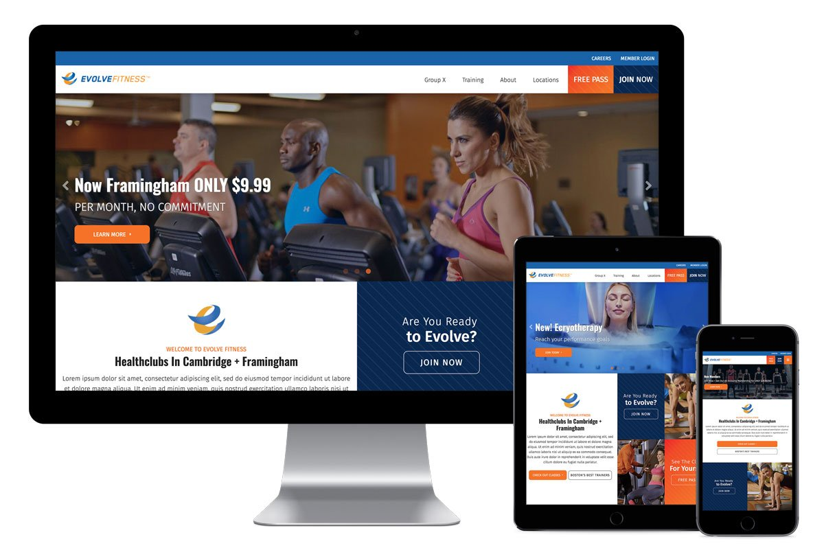 Evolve Fitness, Inc., website design by Katie Peterson Rivera, and development by Katie Peterson Rivera, Front-End Web Developer, and Bethany Ciullo, Front- End Web Developer at CTComp in Rocky Hill, CT