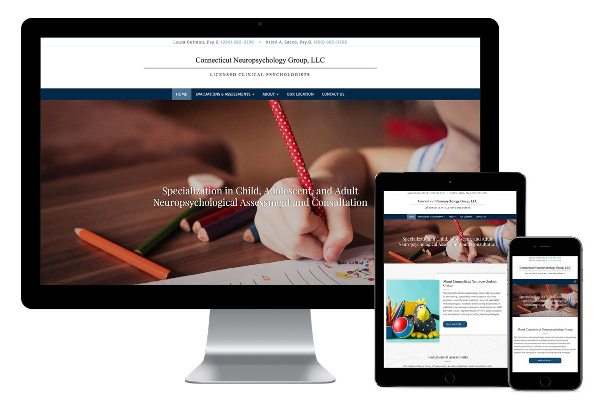 Connecticut Neuropsychology Group, LLC, designed and built by Katie Peterson Rivera, Web Developer and Designer