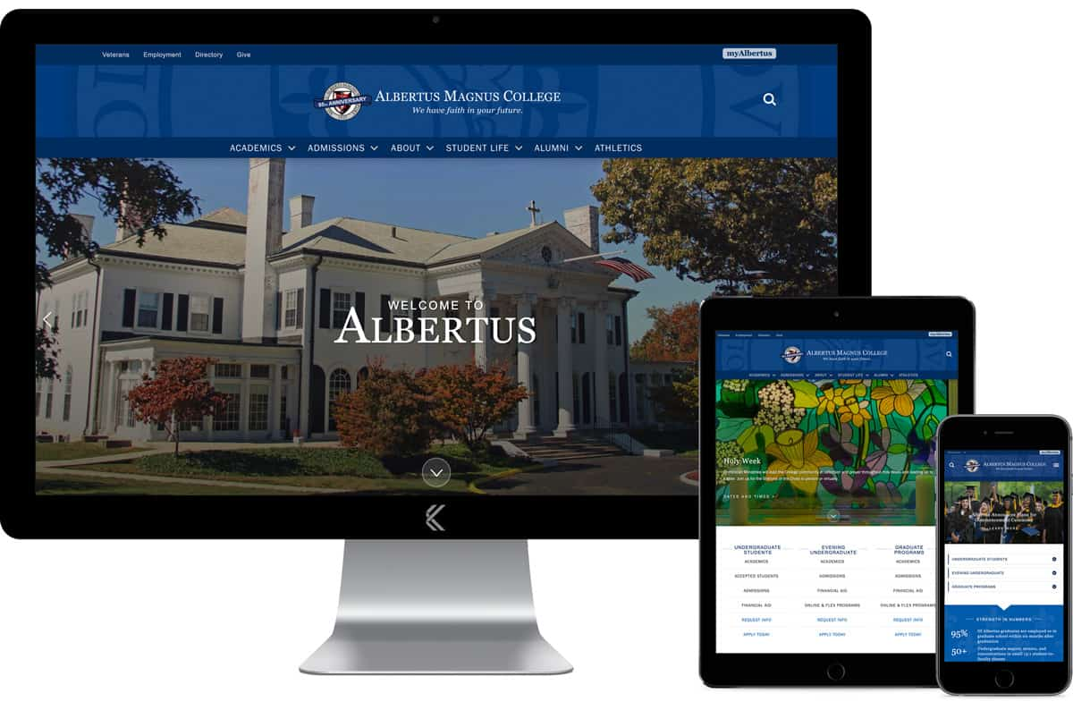Albertus Magnus College, designed and co-developed by Katie Peterson Rivera, Web Developer and Designer in New Haven, CT