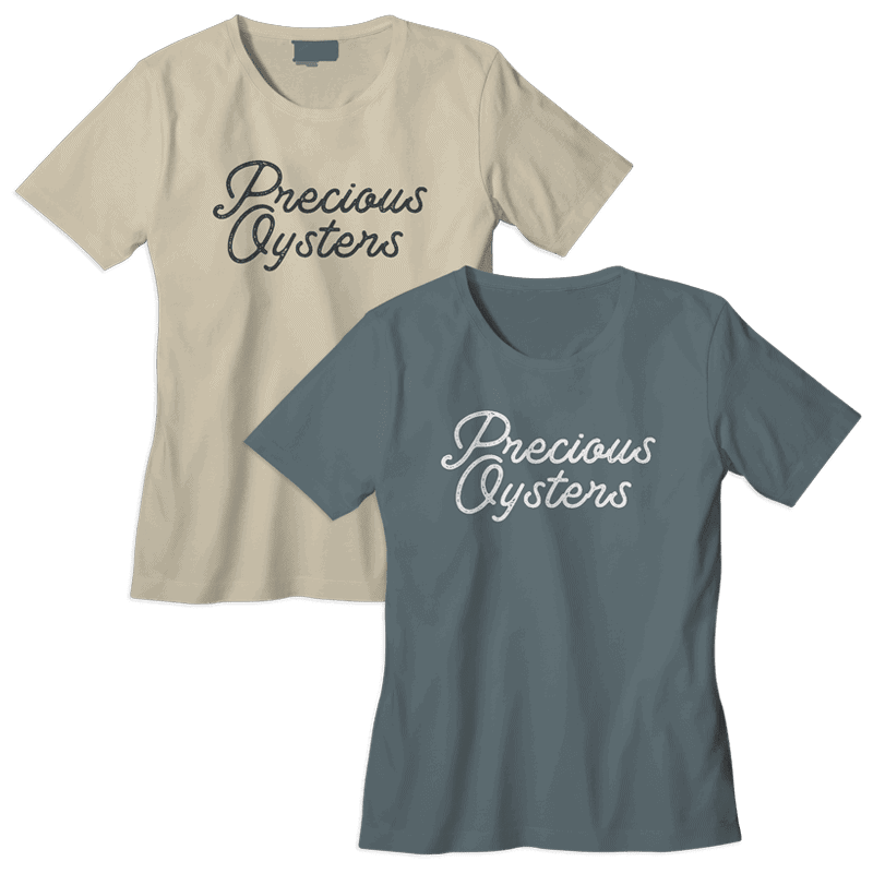 Precious Oysters Apparel Tee Shirts by Katie Peterson Rivera